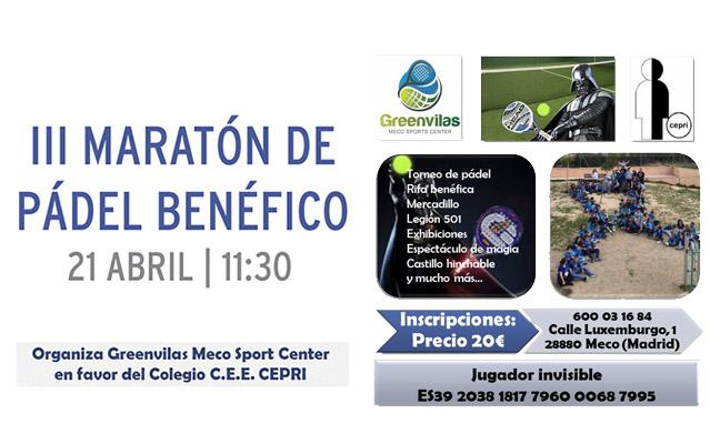 III Maratón de Pádel a beneficio del C.E.E. CEPRI