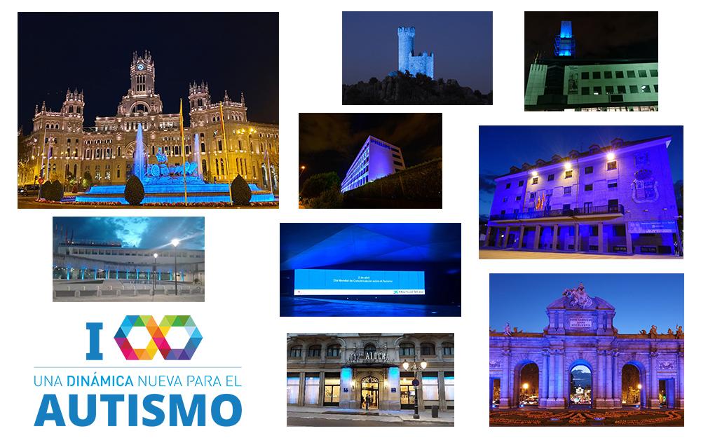 Decenas de edificios se iluminan de azul en la Comunidad de Madrid por el Autismo